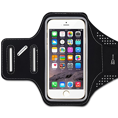 iPhone 6/6s Fascia Sportiva, Sincewe Ultra Soft Adjustable Sports Armband per iPhone 6 / iPhone 6s e Altri Smartphone (entro 5.8 inch)per Vari Sports, Nero