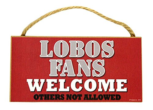 New Mexico Lobos Official NCAA 5 inch x 10 inch Wood Welcome Sign by SJT Enterprises ncaa 10