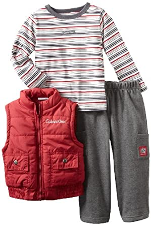 Calvin Klein Little Boys' Stripe Top with Vest Set, Assorted, 3T
