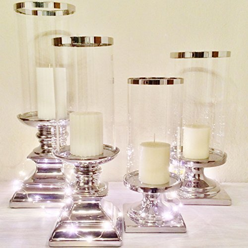 Keramik Kerzenleuchter Kerzenst Nder Silber Wei Windlicht