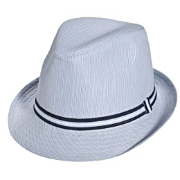 Xhilaration Striped Fedora with Grosgrain Ribbon - Blue : Target