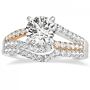 Diamond Split Shank Bridal Set Twisted Engagement Ring with Band 14k Two Tone Gold (0.50ct)