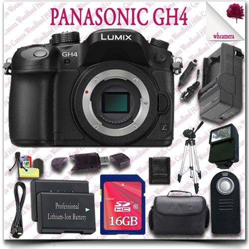 "Panasonic Lumix Dmc-Gh4 4K Mirrorless Digital Camera (Body Only) + Wireless Remote + 16Gb Sdhc Class 10 Card + Slr Gadget Bag + 57"" Tripod + External Slave Flash + Hdmi Cable 15Pc Panasonic Saver Bundle"
