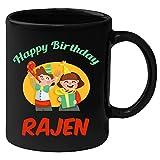 Huppme Happy Birthday Rajen Black Ceramic Mug (350 ml)