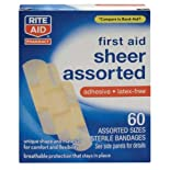 Rite Aid Bandages, Sheer Assorted, 60 ct.