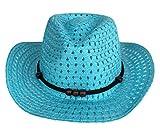 (ウォ2U)Woo2u キッズ 女の子 男の子 子供 ビーチキャップ 紫外線 ストローハット 麦わら帽子 日焼け防止 広い帽子 カウボーイ帽 ブルー