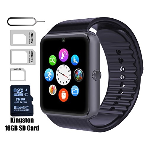 Smart Watch GT08 Bluetooth with 16GB SD Card and SIM Card Slot for Android Samsung S5 S6 Note 4 5 HTC Sony LG and iPhone 5 5S 6 6 Plus Smartphones (Black)