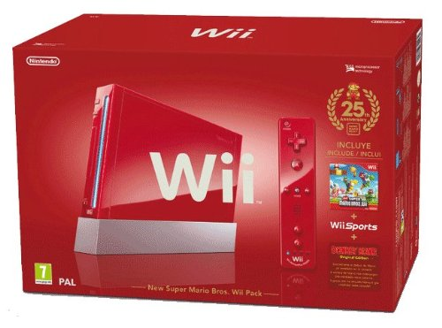 "Nintendo Wii ""Jubiläums Pak"" - Konsole inkl. Wii Sports, New Super Mario Bros. Wii, Donkey Kong (Original Edition) + Remote Plus Controller, red, Nintendo Wii"