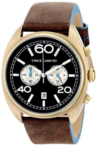 Vince Camuto VC/1053BNGP - Reloj unisex, correa de cuero color marrón