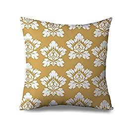 Yellow Damask Pillow Cover for Women Flower Pattern Decorative Pillow Case for Sofa Canvas Accent Couch Cushion Cover Case Girly Floral Pillowcase Standard 18 x 18 Inch Two Sides with Invisible Zipper