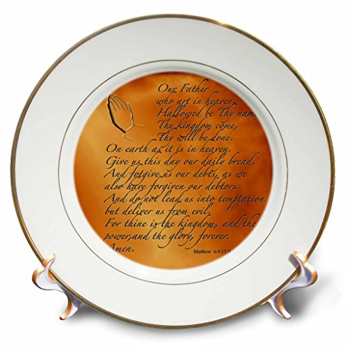 3dRose LLC The Lords Prayer Matthew 6 9 13 Prayer Hands and Verse Embossed on Copper 8-Inch Porcelain Plate