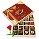 Sensational Chocolate Box With Red Rose - Chocholik Belgium Chocolates