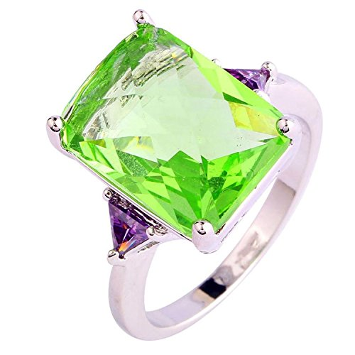Psiroy 925 Sterling Silver Grace Womens Band Charms 12mm 16mm Emerald Cut Gre