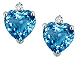 Star K Heart Shape Genuine Blue Topaz Earrings Studs 14kt