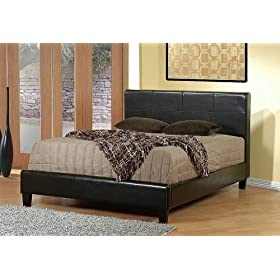 Contemporary Design Brown Leather-Like Queen Size Bed