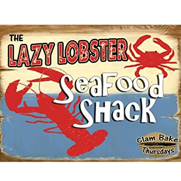 Lazy Lobster Metal Sign - Kitchen Decor Wall Accents