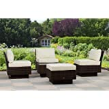 essella Polyrattan Garnitur Vegas in Bicolor-Braun mit extra starkem 1,4mm Geflecht