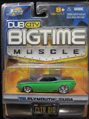 70 Plymouth Cuda (Green/black) Dub City Bigtime Muscle By Jada - 1