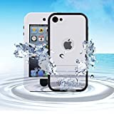 iPod 5 iPod 6 Waterproof Case, Merit Waterproof Shockproof Dirtproof Snowproof Case Cover with Kickstand for Apple iPod Touch 5th/6th Generation (White)