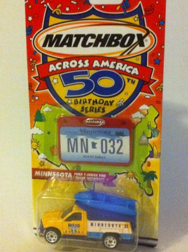 Matchbox Across America 50th Birthday Series Minnesota Ford F-series Fire Truck with Raft - 1