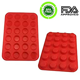 Set of 2 Silicone Cake Molds,iHOVEN Portable Mould Silicone Mini Muffin Model Cupcake Baking Pans Non-stick Oven Microwave Dishwasher Freezer Safe Heat Resistant 2x24 Cups a Pack