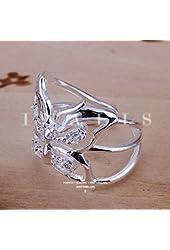 ZHU 925 Sterling Silver Statement Jewerly Butterfly Fashion Pattern Silver-plated Ring Women Girls Rings US Size 8