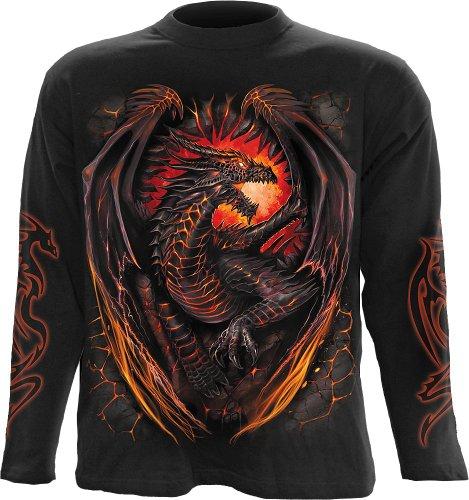 Spiral Dragon forno maglia a maniche lunghe, colore nero