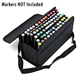 Good Quality 60/72/80 Piece Color Marker Pen Holder Case Storage Fit For Diameter 15mm to 22mm. (Black) (Color: Black)
