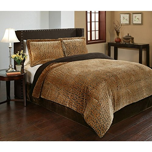 3 Piece Queen Dark Brown Velvet African Comforter Set, Reversible Comforter, Cheetah Printed Design, Casual Style, Fancy Luxury Bedding, Modern Pattern for Master Bedrooms, Light Black And Golden