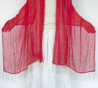 Belly Dancing Veil, Glass Beaded Embroidered Chiffon Shawl, Red Silver Beads