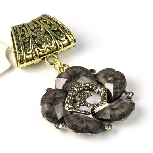Antique Golden Design Flower with Stones Scarf Slide,pt-709 (E)