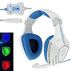 SADES A60 LOGO 7 Colors Change 7.1 Surround Sound Gaming Headset with Remote and Hidden Mic for Computer Cable Length Appr. 2.2m White
