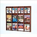 Wooden Mallet 12-Magazine/24-Brochure Divulge Wall Display with Brochure Inserts, Mahogany