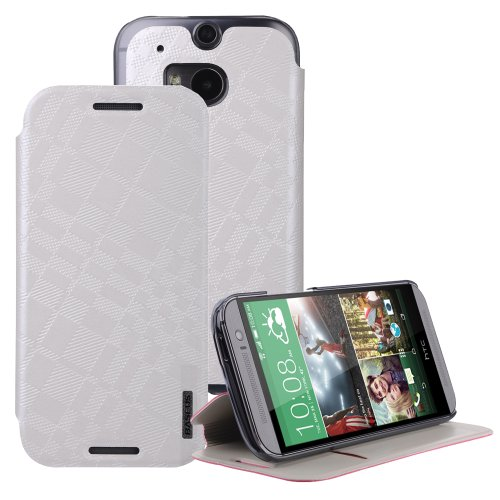 Moon Monkey Classical Check Slim Protective Cover Case For Htc One 2/M8 (White)