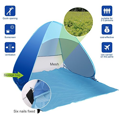 e-Joy Outdoor Automatic Pop up Instant Portable Cabana Beach Tent, Sport Shelter, Shade Shelter, Beach Shelter, Beach Umbrella, Sun Shelter, Fit for 2-3 Person Camping Fishing Hiking Picnic (Blue)