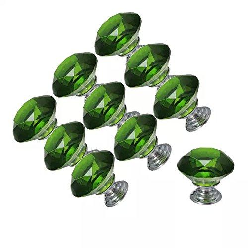 DECOOL (TM) 10 PCS 30mm Grün Kristallglas Diamond Shape Möbelknauf Möbelknopf Schubladenschrank Türknopf Möbel Küchengriff Tür Schuhkarton ,Kueche Bad Schraenke, Rolllaeden und ect jetzt kaufen
