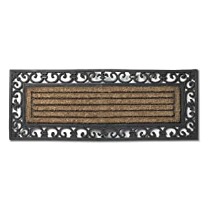 Abbott coir and rubber fleur de lys double for Door mats amazon