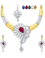 Sukkhi Artistically Gold & Rhodium Plated AD Necklace Set With Set Of 5 Changeable Stone For Women