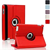 iPad Case,360 Degree Rotating Case, Automatic Wake/Sleep Feature, Kevenz® Gold Slim-Fit Folio Smart Case Cover with Back Case for Apple the New iPad 4 & 3 (3rd and 4th Generation with Retina Display) / iPad 2 (Red)