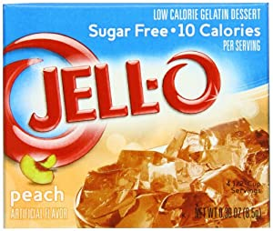 Jell-O Sugar-Free Gelatin Dessert, Peach, 0.3-Ounce Boxes (Pack of 24)