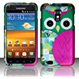 PINK PATCHED OWL Hard Plastic Design Matte Case for Samsung Epic Touch 4G Galaxy S II D710 (Sprint) / Samsung Galaxy S II R760 (U.S. Cellular) + Screen Protector + Car Charger |In Twisted Tech Packaging|