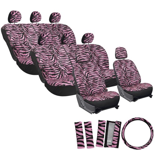 Oxgord Velour Zebra/Tiger Stripe Seat Cover Set For Kia Mini Passenger Vans, Airbag Compatible, Split Bench, Pink & Black
