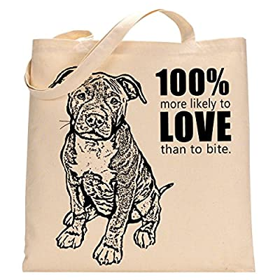 More Likely to Love Than Bite Pit Bull Eco Friendly Tote Bag