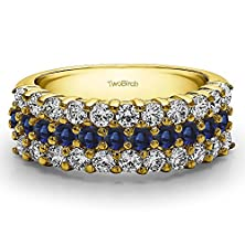 buy Yellow Silver Three Row Shared Prong Wedding Band With Diamonds And Sapphire (0.99 Ct. Twt.)
