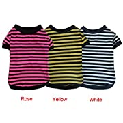 Dog Shirt, HP95(TM) 2015 Fashion Summer Pet Dog Classic Wide Stripes T-shirt, Doggy Clothes Cotton Shirts (Rose, XL)