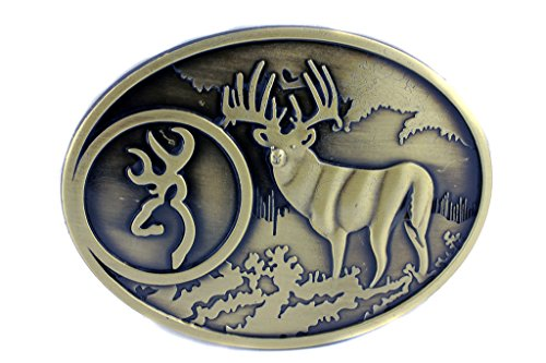 Deal Fashionista BRONZE Buck Hunter Whitetail Deer Emblem Buckmark Belt Buckle