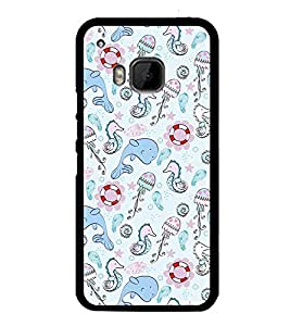 Fuson Premium 2D Back Case Cover Cute Dolphin With Multi Background Degined For HTC One M9::HTC M9::HTC One Hima