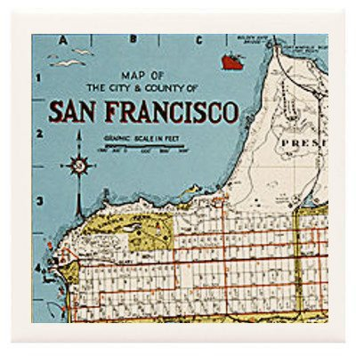 Hand Made Coasters [Set Of 4] - San Francisco Map With Points Of Interest - A Stylish And Chic Way To Add A Unique Special Personal Touch To Your Decor - Great For A Gift - Crafted By Hand Of Ceramic Tile And Specialty Materials, These Coasters Are Unique front-574585