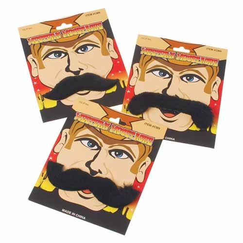 Western Moustache Sets - 3 Assorted Styles
