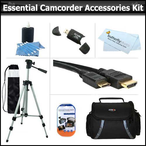 Essential Accessory Kit For Toshiba Camileo H30 X100 HD Camcorder Includes 50&quot; Tripod + Deluxe Case + Mini HDMI Cable + Lens Cleaning Kit + Screen Protectors + More